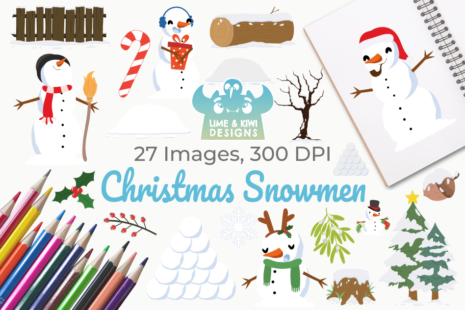 Christmas Snowmen Clipart, Instant Download Vector Art example image 1