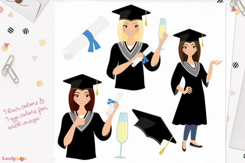 Woman graduate character clip art L267 Lisa example image 1