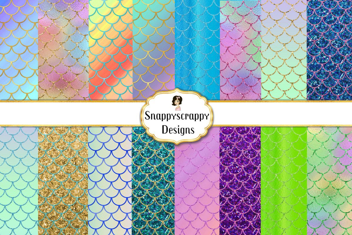 Iridescent Mermaid Scales Background Papers Set 1 example image 1
