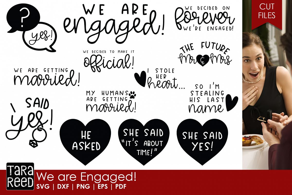 We are Engaged! - Wedding SVG and Cut Files for Crafters example image 1