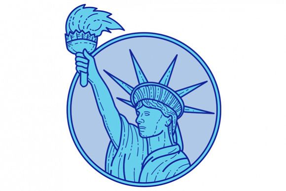Statue of Liberty Flaming Torch Circle Mono Line example image 1