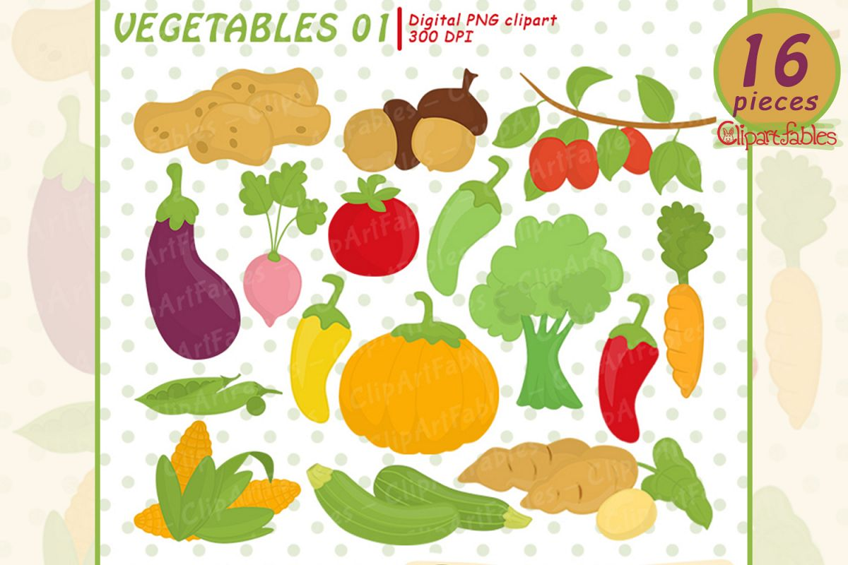 Cute Vegetables clipart - instant download, digital clipart example image 1