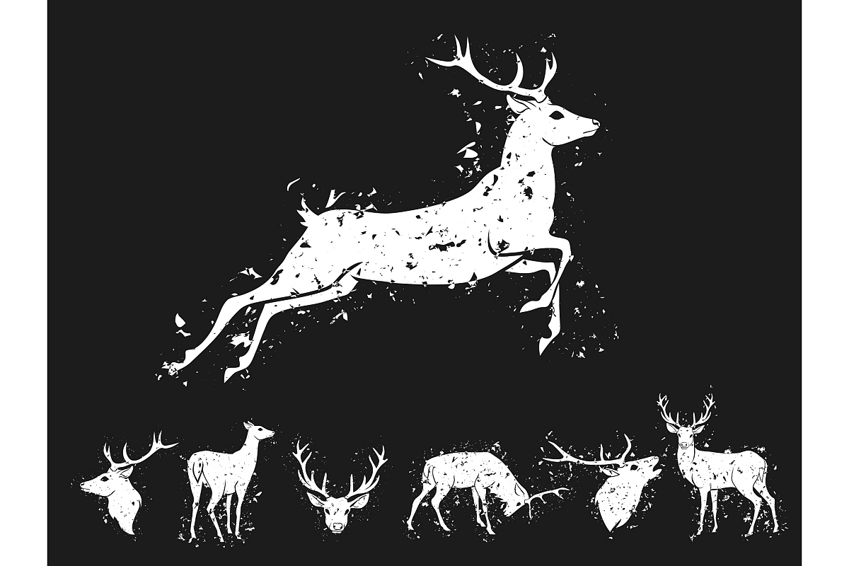 Set of graphic design deer head silhouette with horns in grunge scratched style white on black background. Vector illustration example image 1