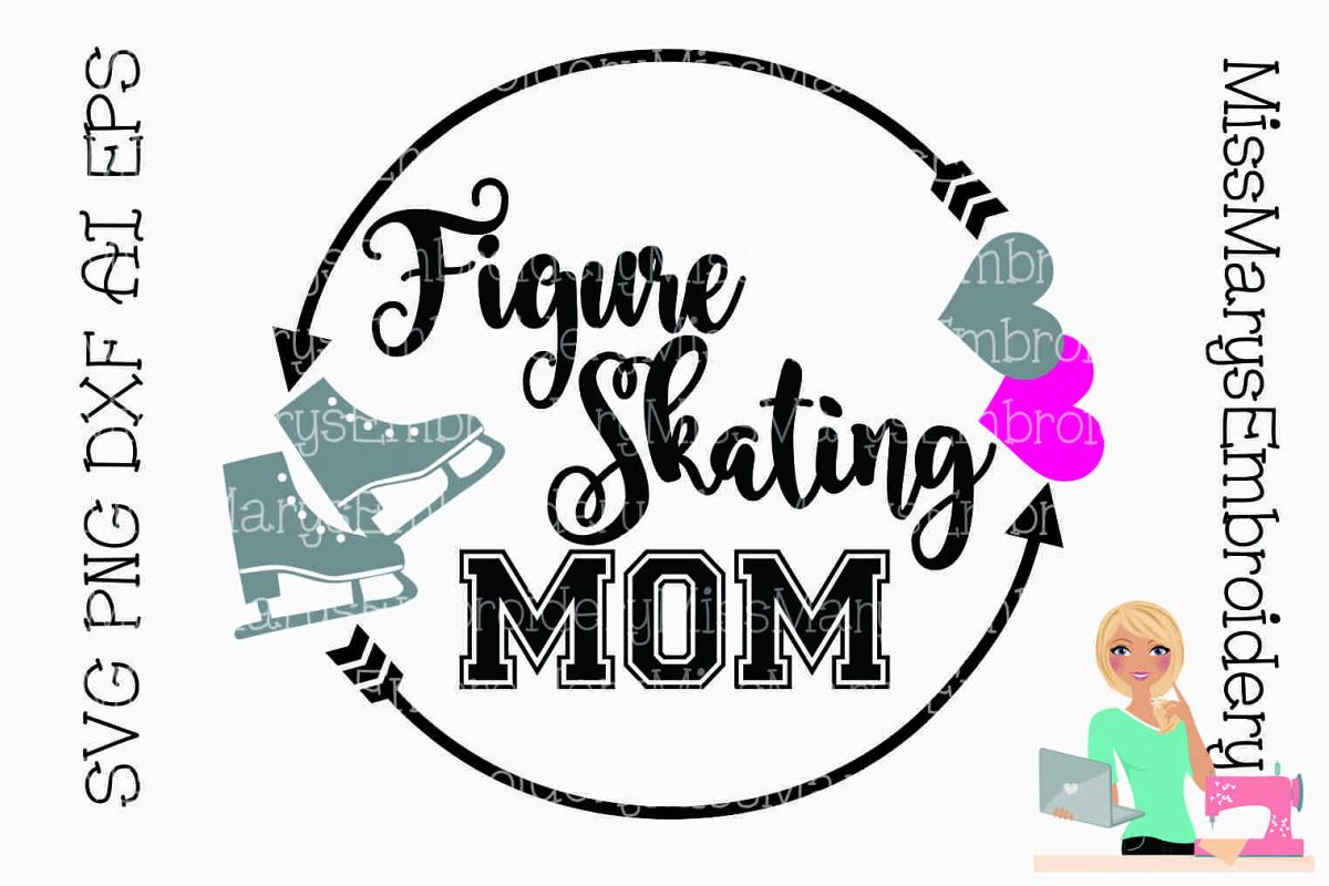 Figure Skating Mom Monogram SVG Cutting File example image 1