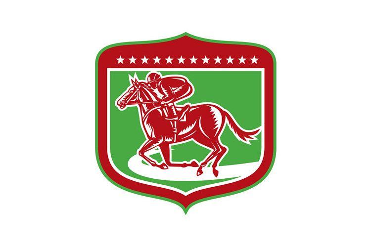 Jockey Horse Racing Side Shield Woodcut example image 1