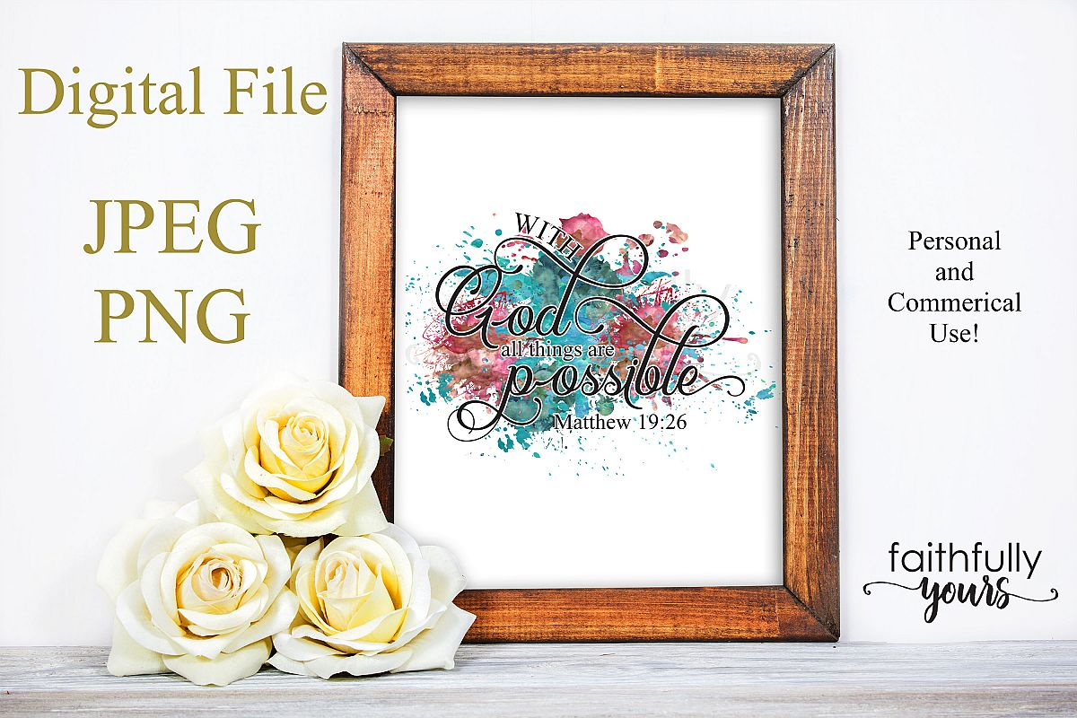 With God, all things are possible! Sublimation Design PNG example image 1