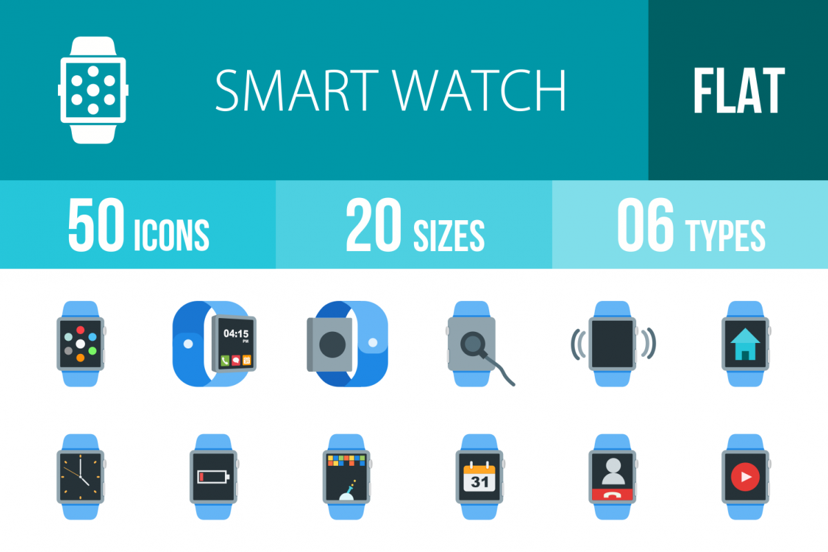 50 Smart Watch Flat Multicolor Icons example image 1