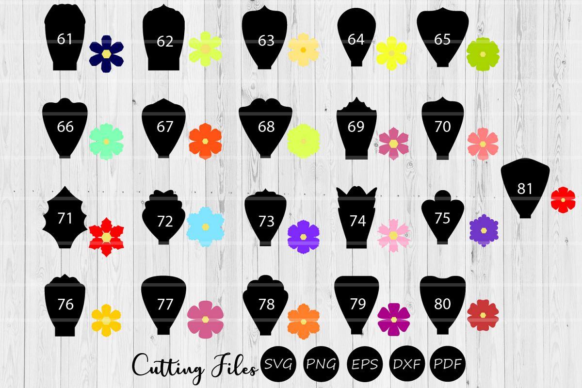 Paper Flowers Templates bundle 60 to 81|A1-40 | DIY projects example image 1