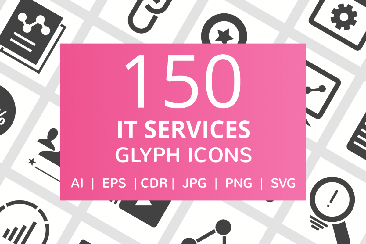 150 IT Services Glyph Icons example image 1