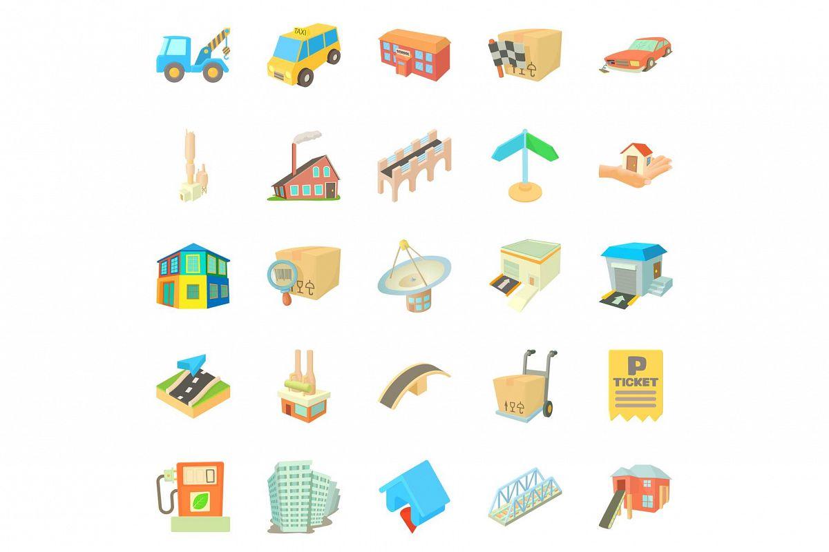 Urban elements icons set, cartoon style example image 1