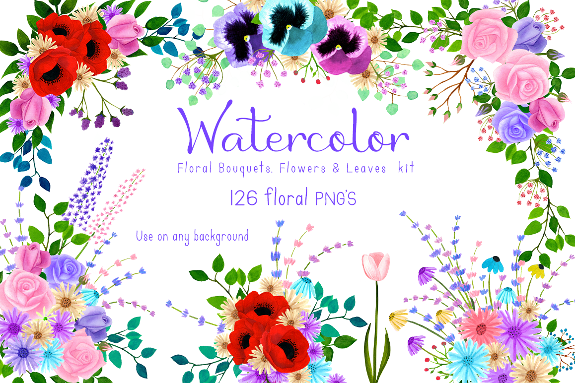 Watercolor Floral Bouquet, Flowers & Le   Design Bundles