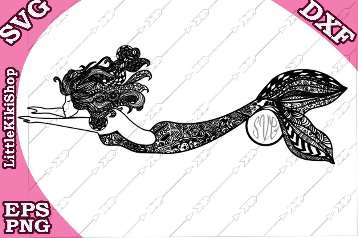 Zentangle Mermaid Monogram Svg, Mandala Mermaid Svg example image 1