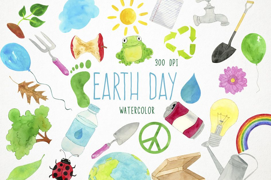 Watercolor Earth Day Clipart, Recycling Clipart, Ecology example image 1