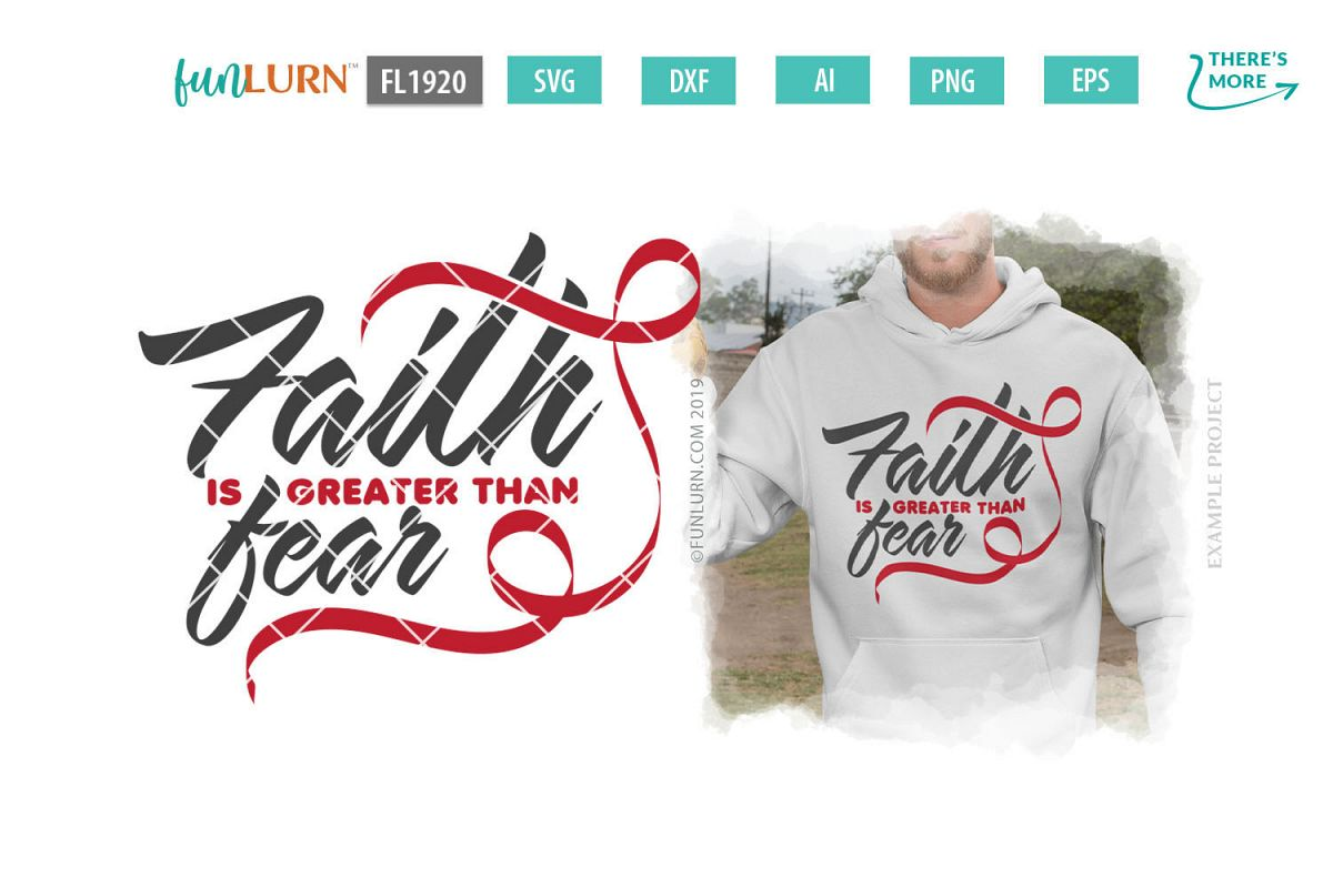 Faith is Greater Than Fear Red Ribbon SVG Cut File example image 1