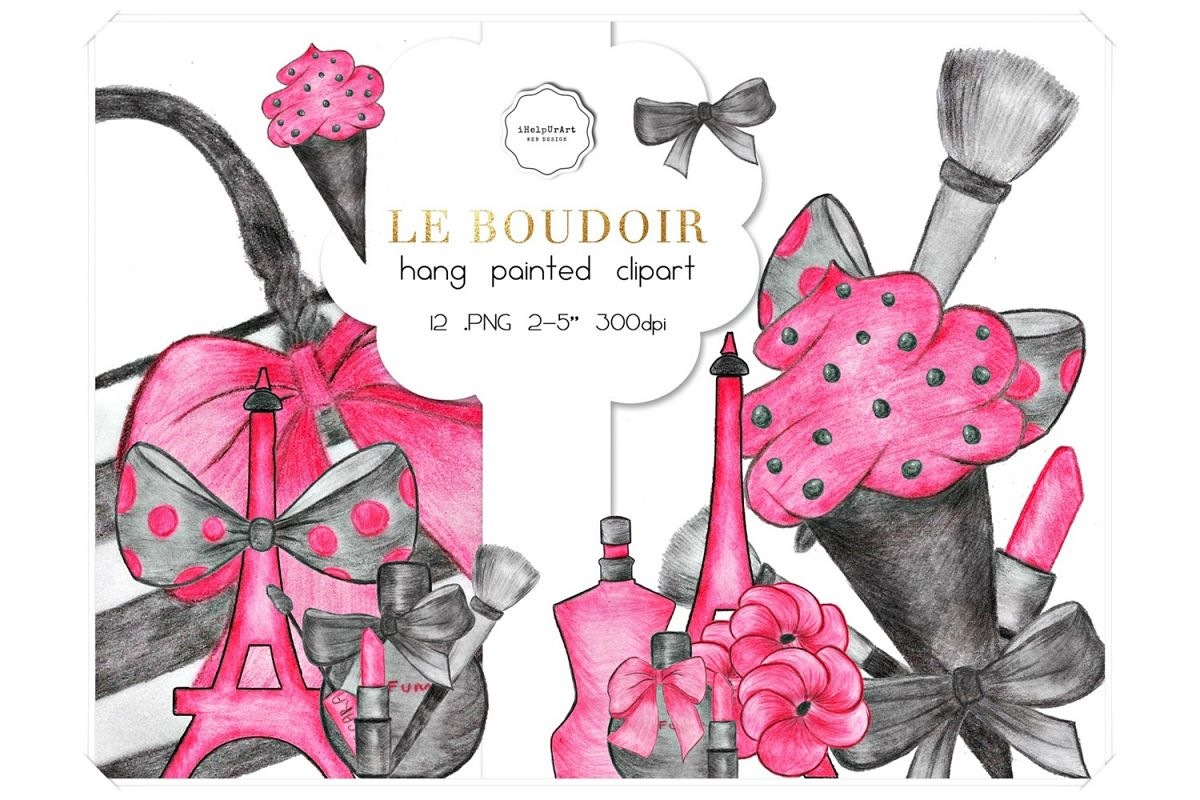 Hand Painted Make Up Clipart example image 1