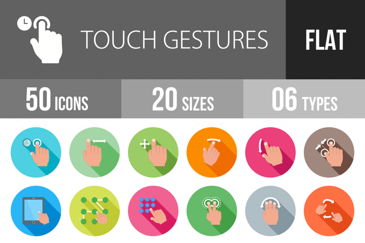 50 Touch Gestures Flat Long Shadow Icons example image 1