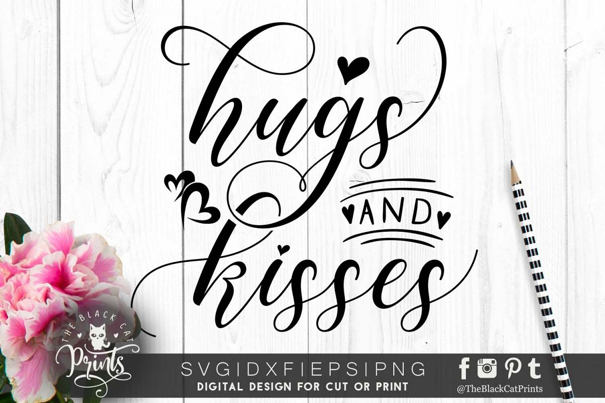 Hugs and kisses SVG DXF PNG EPS example image 1