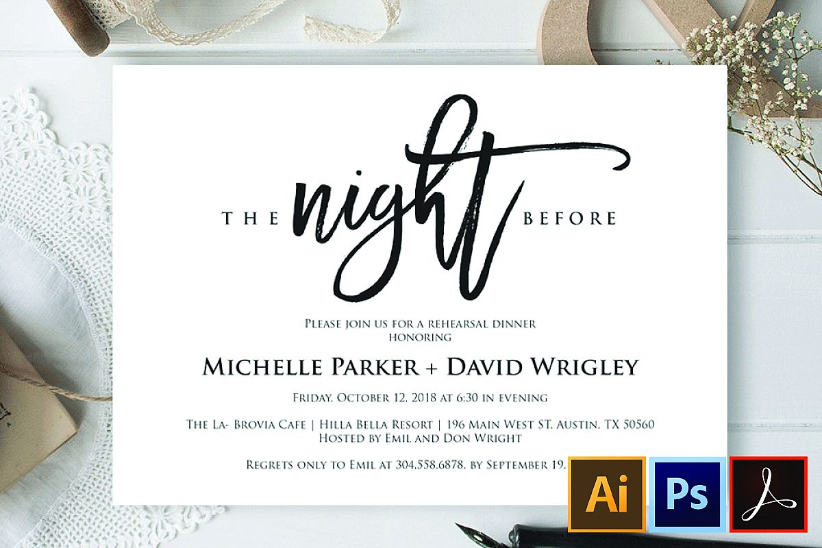 The Night Before Wedding Rehearsal Dinner Invitation Card