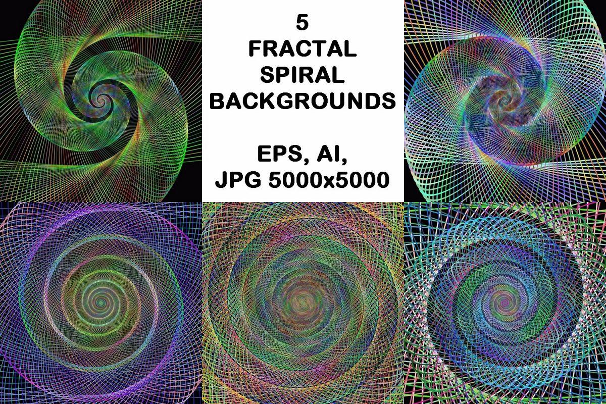 5 fractal spiral design backgrounds (AI, EPS, JPG 5000x5000) example image 1