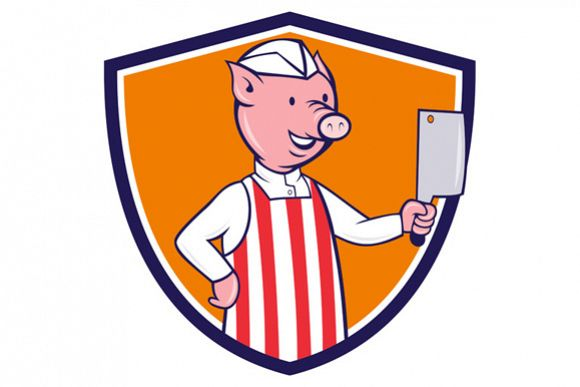 Butcher Pig Holding Meat Cleaver Crest Cartoon example image 1
