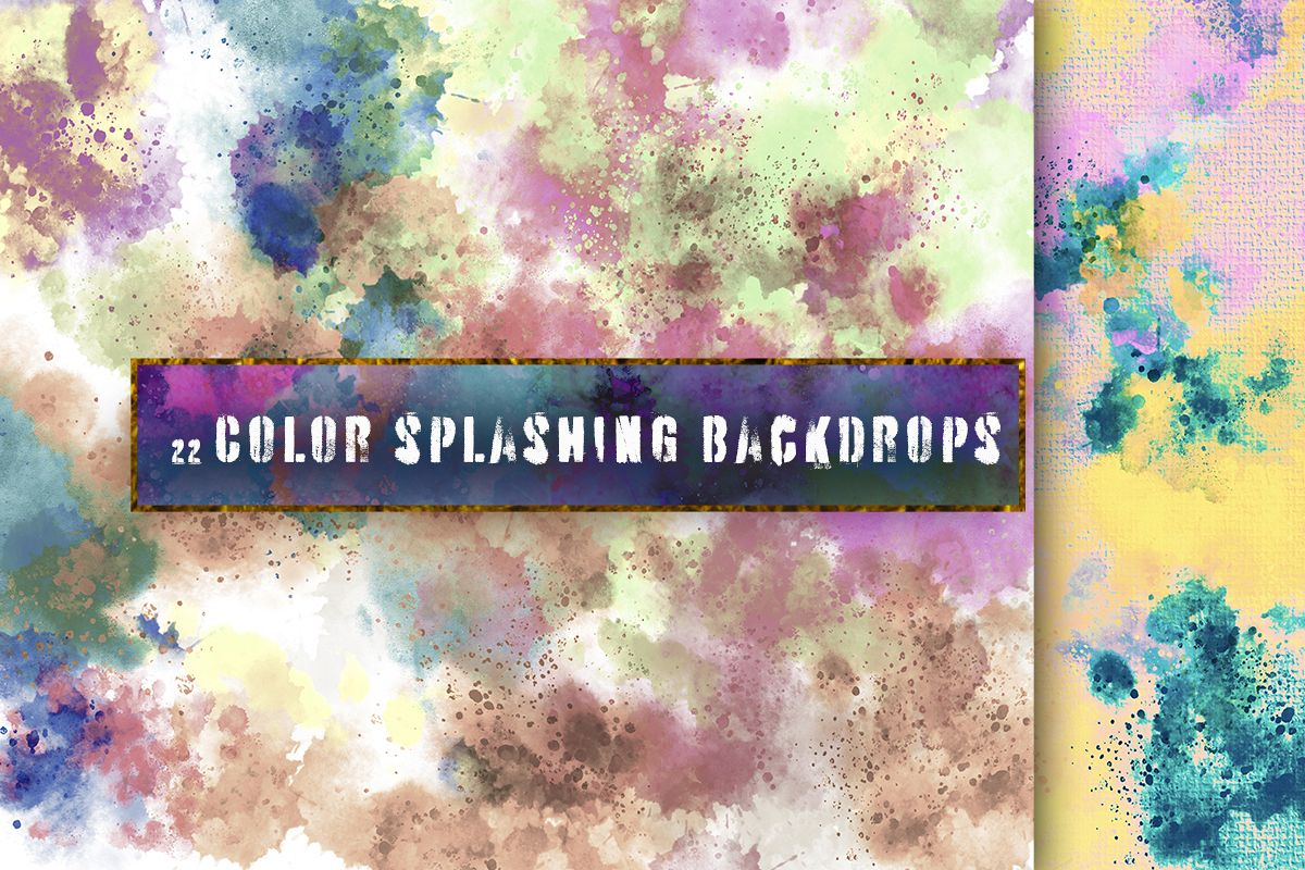 22 Colorful backgrounds. Watercolor splatter on canvas paper example image 1