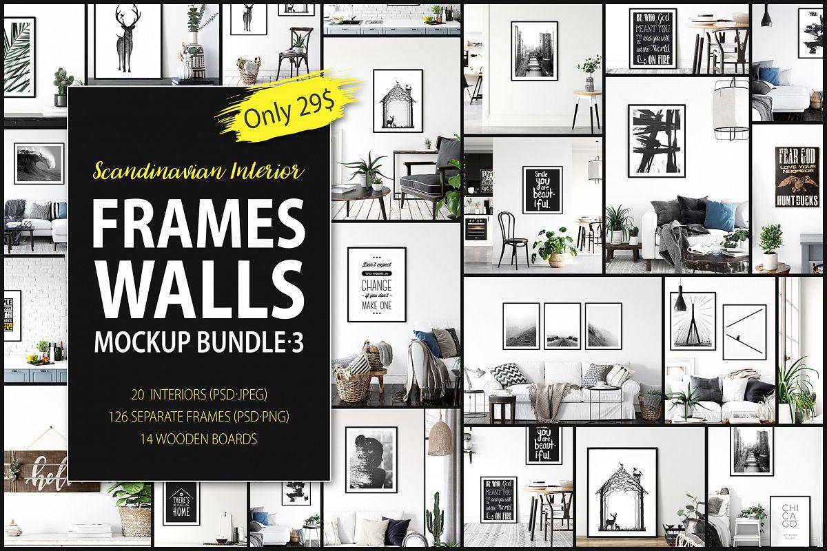 Scandinavian Interior Frames & Walls Mockup Bundle - 3 example image 1