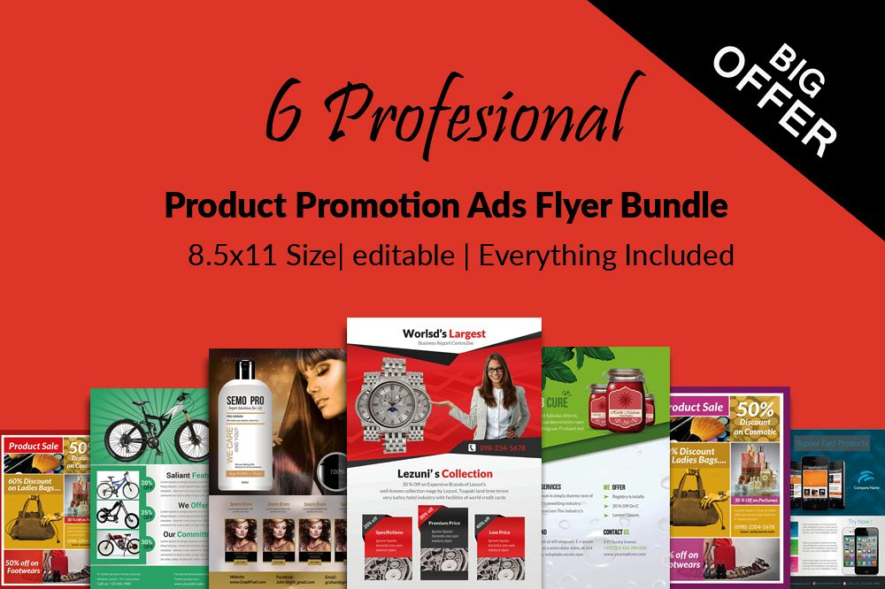 6 Products Promotion Flyers Bundle example image 1