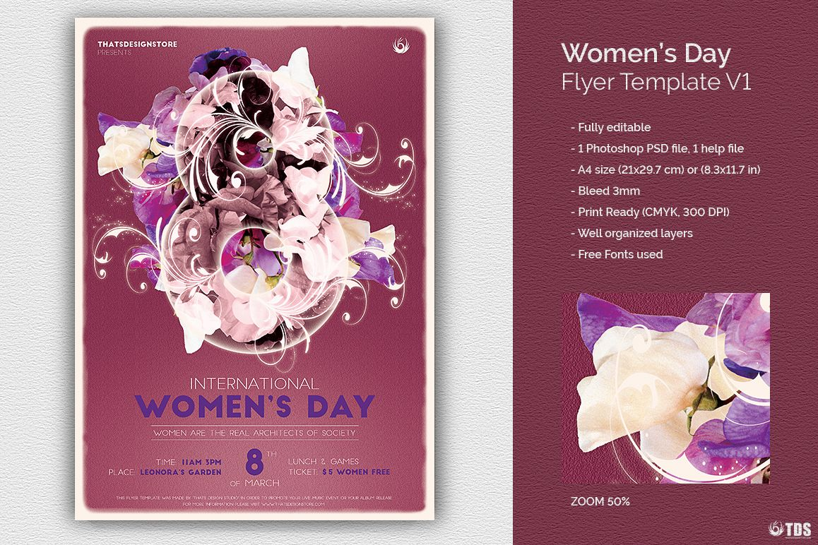 Womens Day Flyer Template V1 example image 1