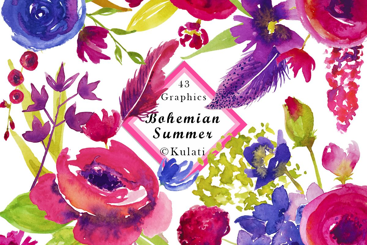 Bohemian Summer Watercolor Floral & Feather Clipart example image 1