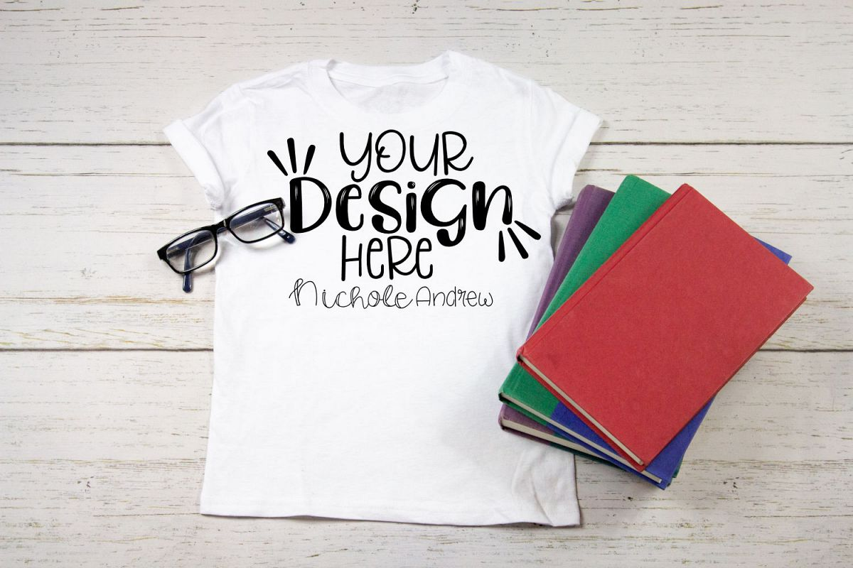 Child T-Shirt with Books - Mock Up example image 1