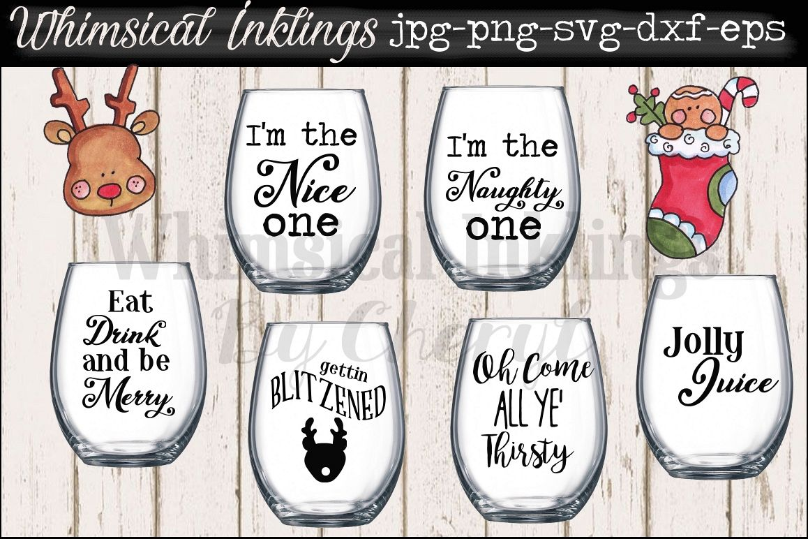 Jolly Juice~ Christmas Wine Glass SVG Files example image 1