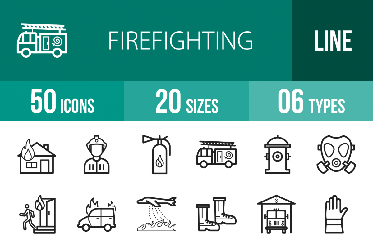 50 Firefighting Line Icons example image 1