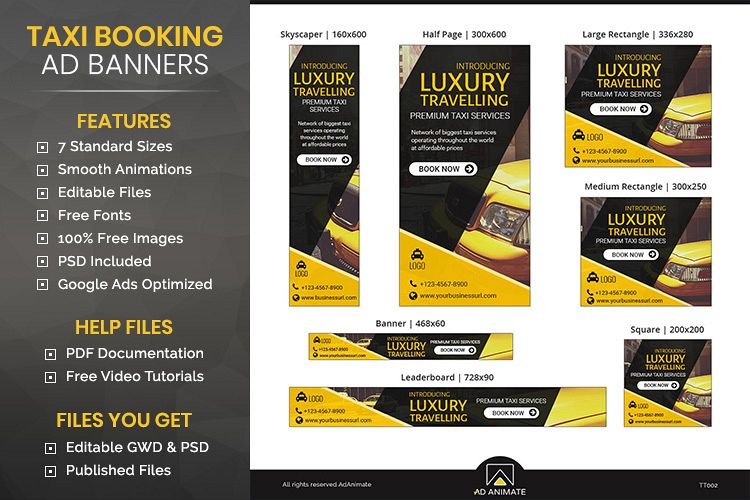 Taxi Service Animated Ad Banner Template - TT002