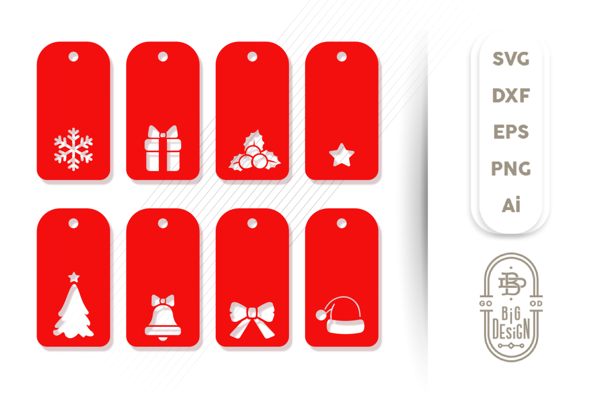 Christmas Gift Tags SVG - 8 Label Svg Designs example image 1