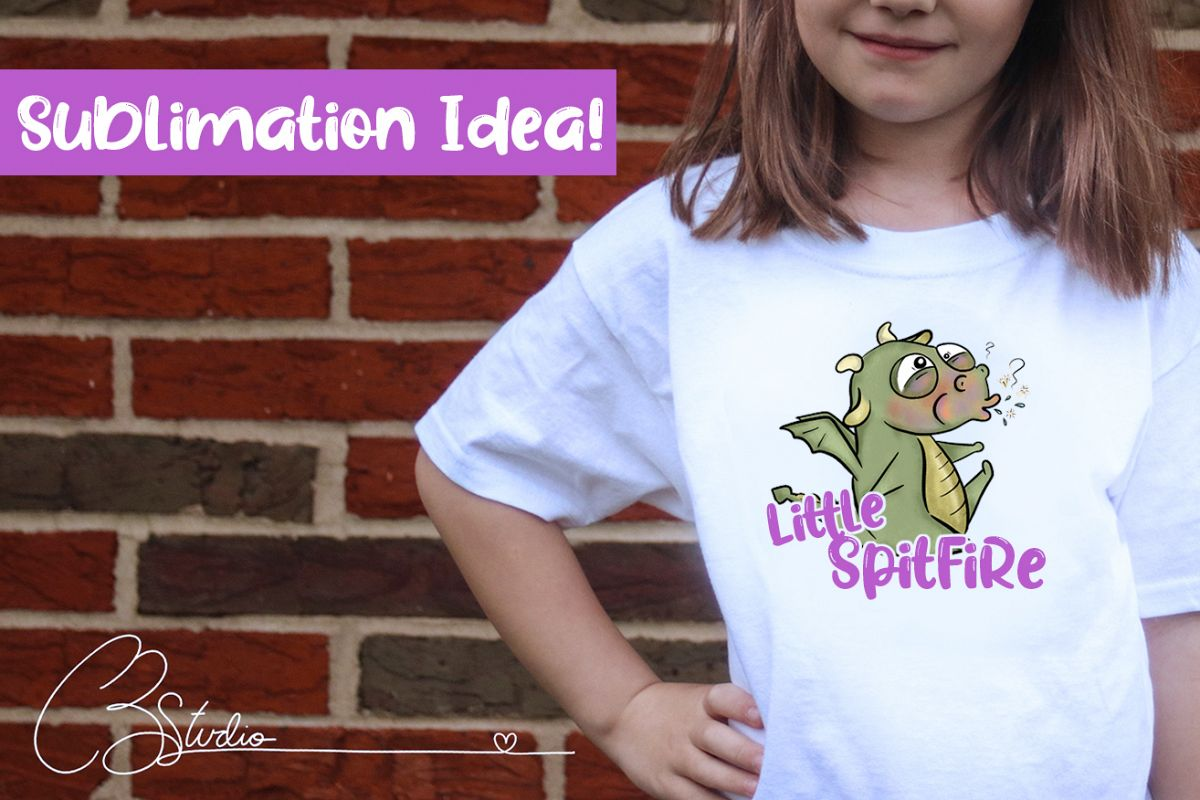 Spit Fire Dragon Sublimation|Baby Dragon| Cute Dragon Sub example image 1