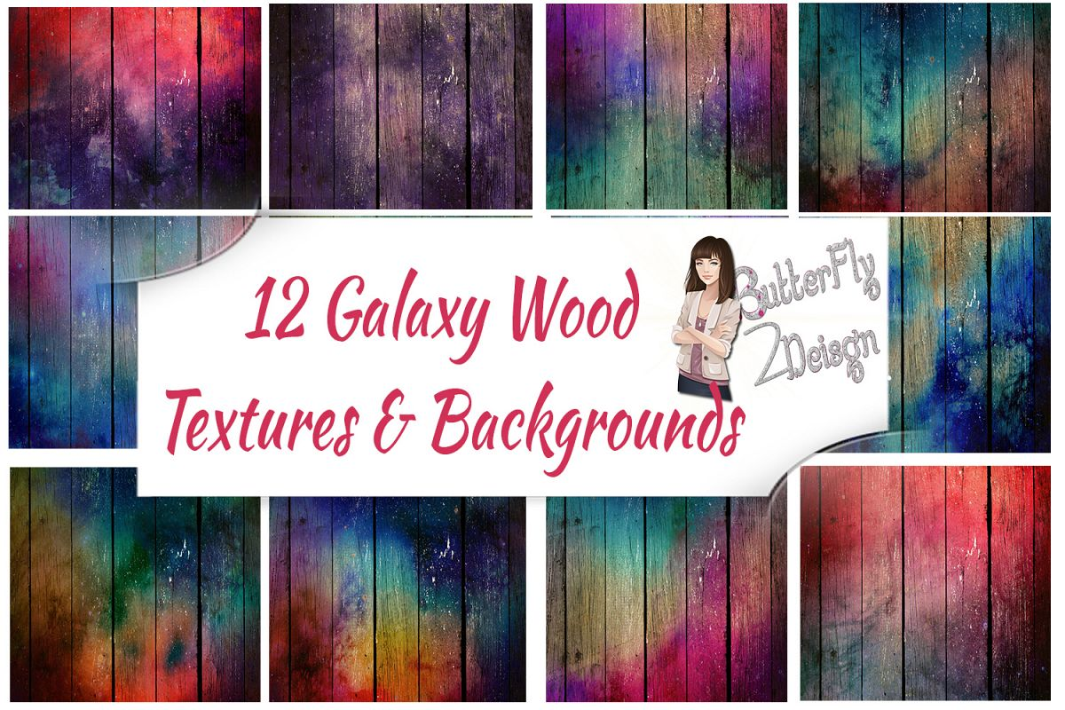 12 Galaxy Wood Background and textures example image 1