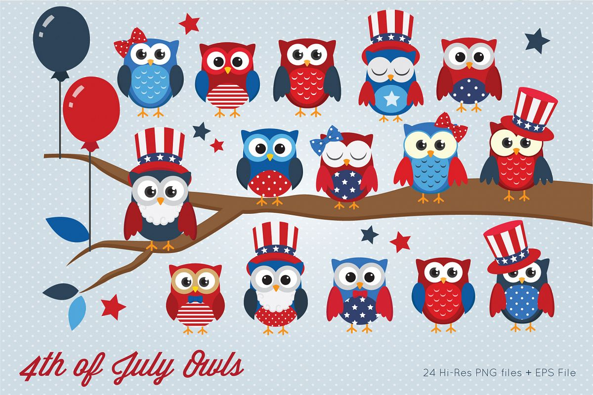 4th of July Owls Clipart example image 1