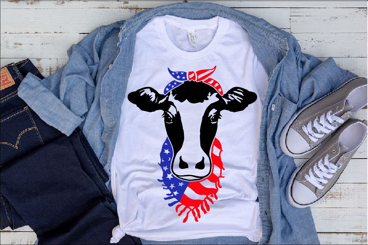 Cow Head whit Bandana and Scarf US flag SVG heifer 1273s example image 1