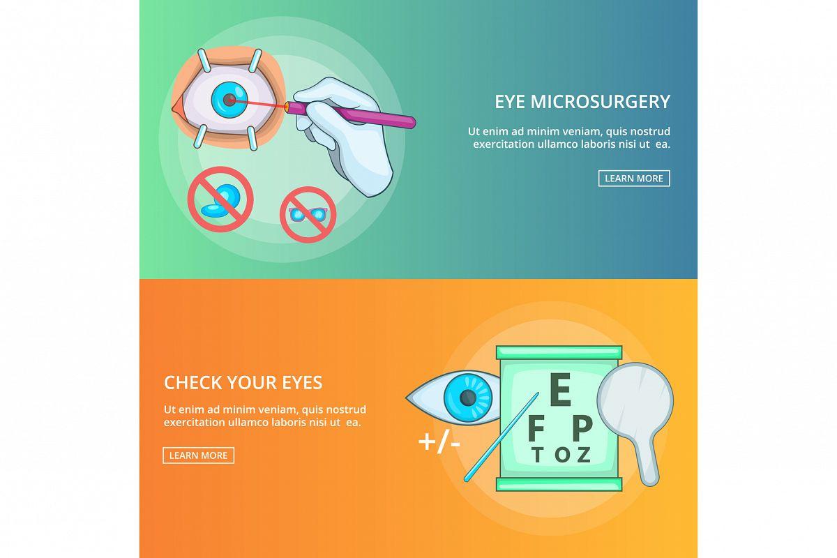 Eye microsurgery banner set template, cartoon style example image 1