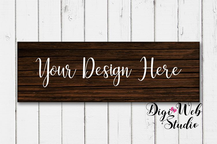 Wood Sign Mockup - Dark Wood Sign on Rustic White Shiplap example image 1