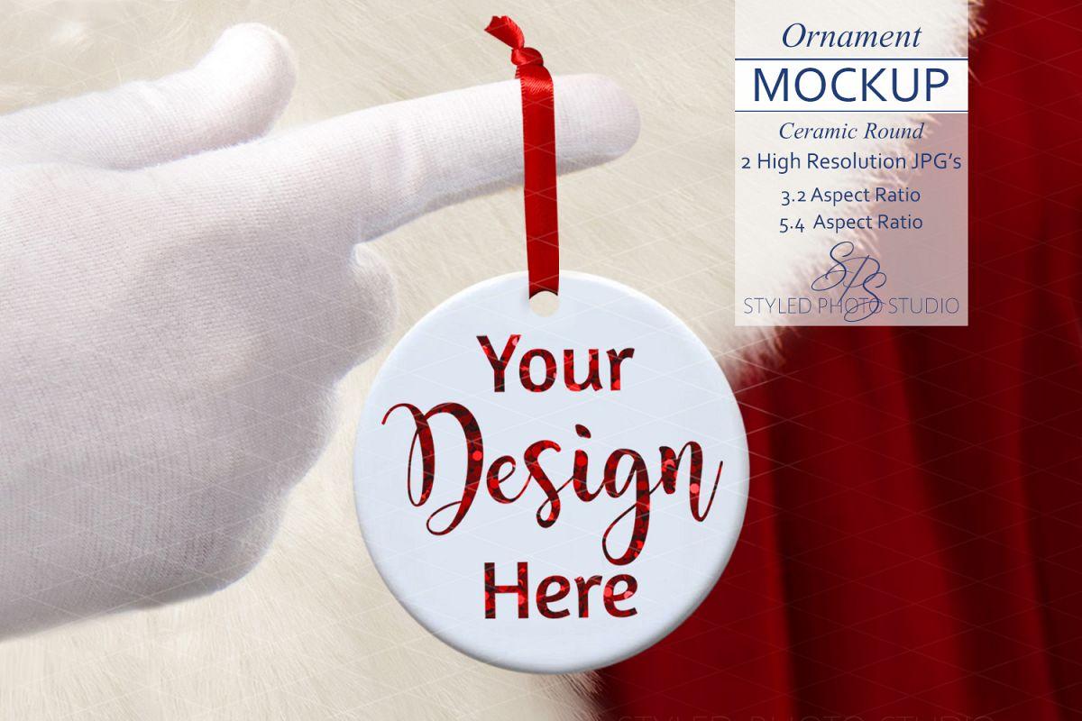 Round Christmas Ornament Mockup w/ Santa 3.2 / 5.4 A Ratio example image 1