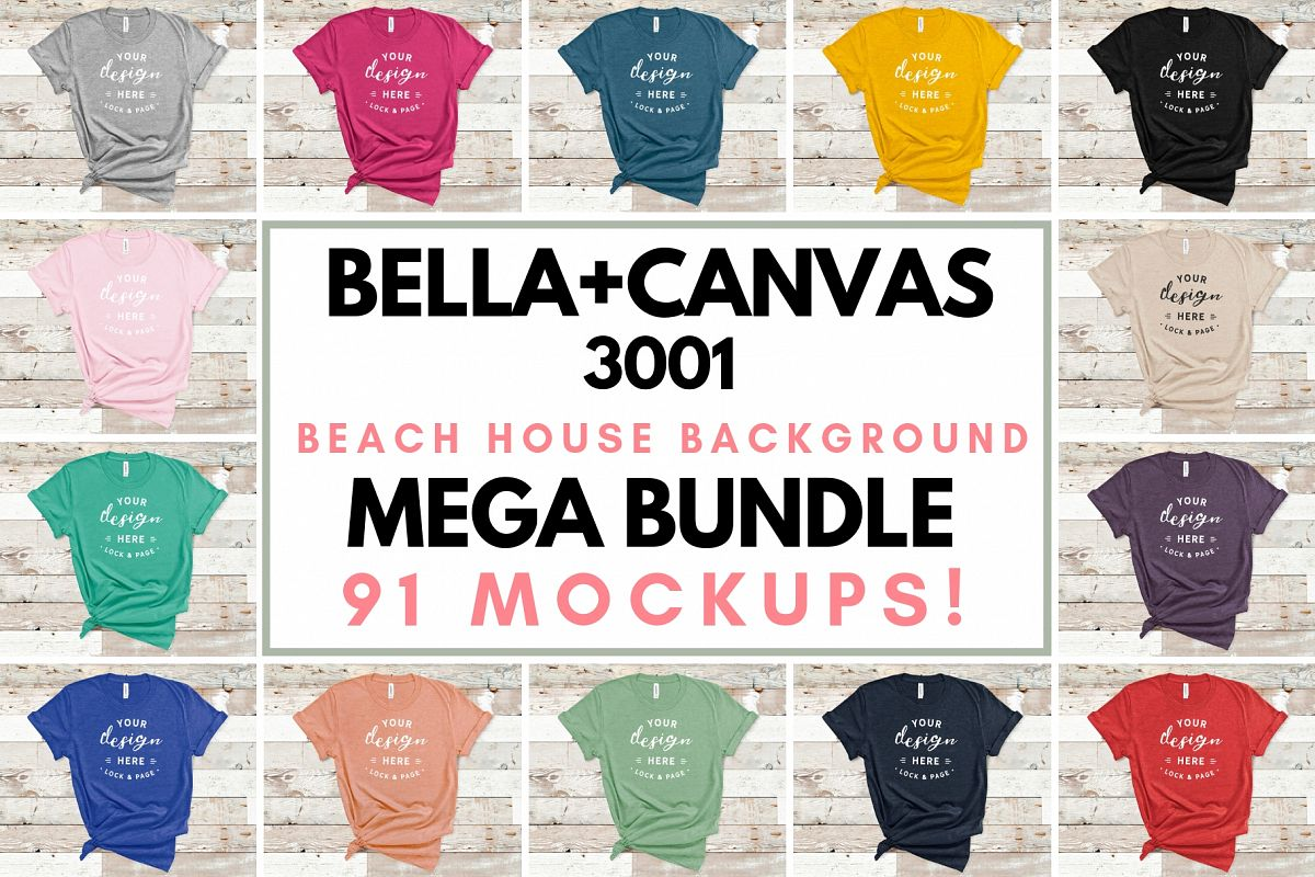 Bella Canvas 3001 Mockup T-Shirt Bundle All Colors On Wood example image 1
