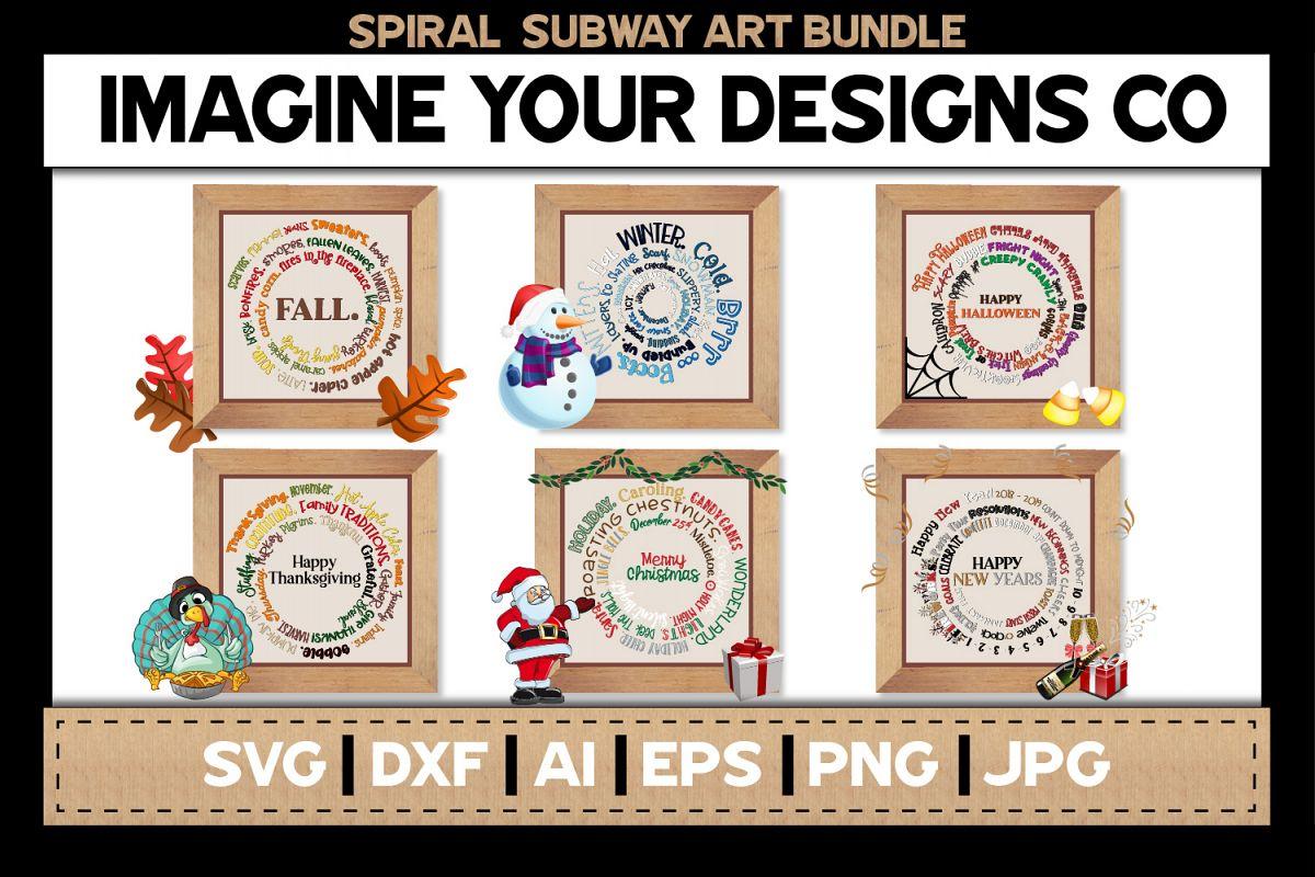 Spiral Subway Printable SVG Clipart Bundle example image 1