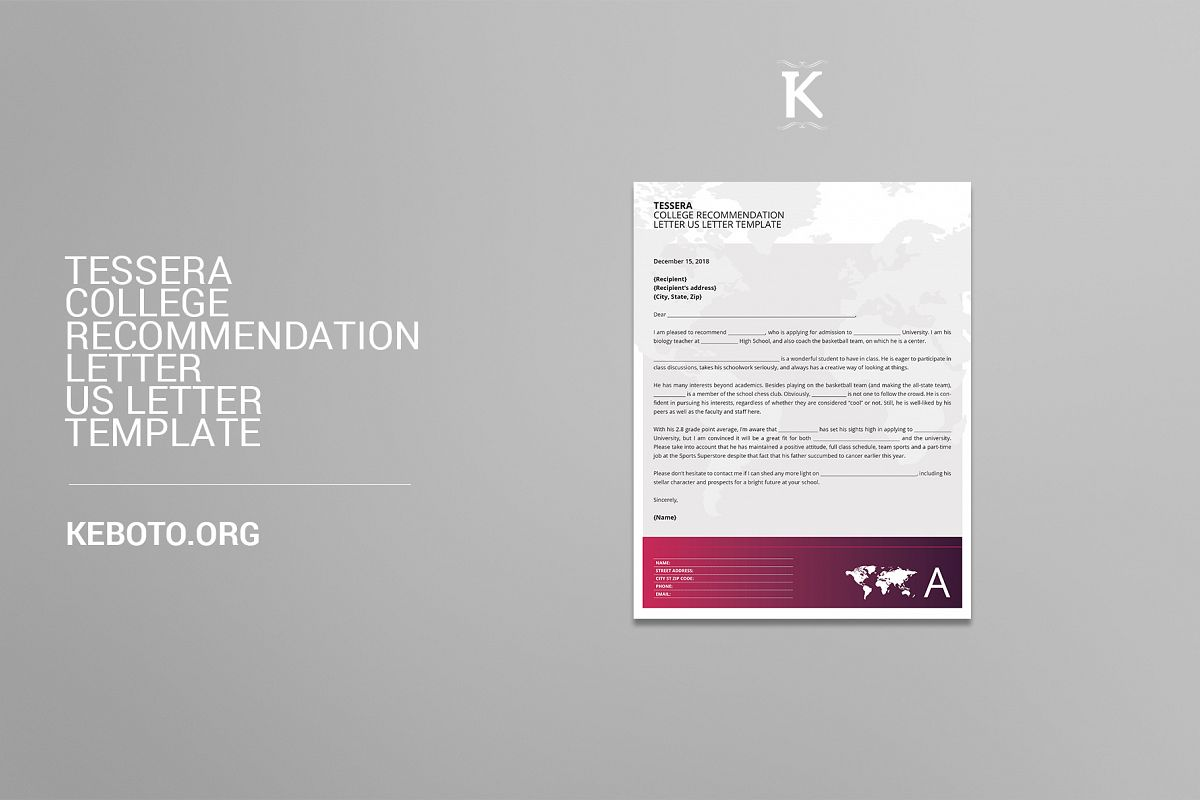 tessera college recommendation letter us letter template example image 1