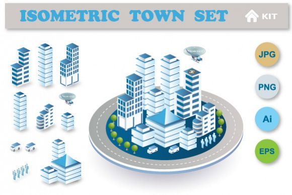 Town vector set example image 1