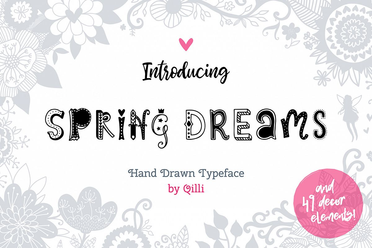 Spring Dreams Typeface with Clipart example image 1
