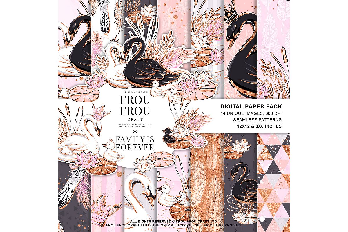 Swan Rose Gold Glitter Nursery Paper Pack example image 1