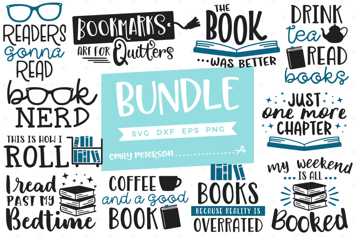 Book Lover Bundle 11 Designs SVG DXF EPS PNG example image 1