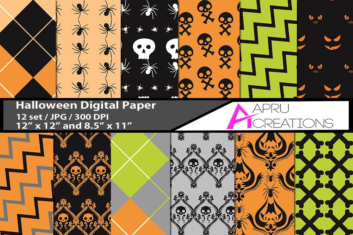 halloween digital papers, halloween  pattern, digital papers, high quality 300 dpi, 12 x 12 inch , and 8.5 x 11 inch example image 1