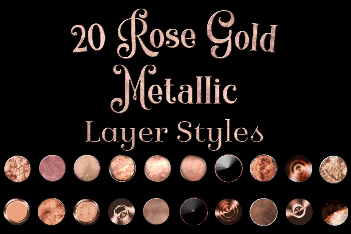 20 Rose Gold Metallic Layer Styles for Photoshop example image 1